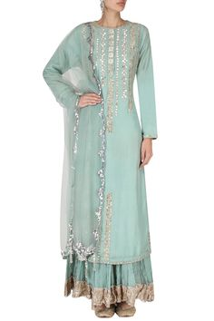 Priyanka Singh presents Blue embroidered kurta with crushed cotton sharara pants set available only at Pernia's Pop Up Shop. Pakistani Dresses, Indian Dresses, Indian Outfits, Shadi Dresses, Indian Attire, Indian Ethnic Wear, Sharara Designs, Indian Lehenga, Embroidery Suits