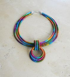 Circles Statement Necklace Carnivale Textile Art to by fiber2love