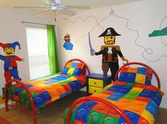 Lego room -- great idea for making a quilt…very 'do-able'. Lego Bedroom, Bedroom Themes, Kids Bedroom, Bedroom Ideas, Lego Room Decor, Thomas Bedroom, Lego Decorations, Kid Spaces, Cool Rooms