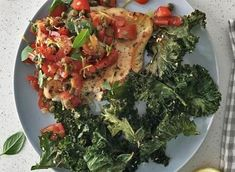 Fresh and tasty recipe for Chicken Breasts topped with salsa and served with a side of crispy, spicy Kale Chips. Healthy Family Meals, Healthy Snacks, Salsa Chicken, Kale Chips, Best Chicken Recipes, Gluten Free Chicken, Recipe Of The Day, Cherry Tomatoes, Spicy
