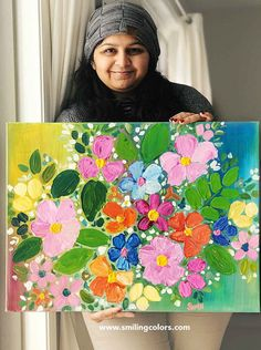 Step by step acrylic painting tutorial for easy flowers - Smitha Katti Painting Flowers Tutorial, Easy Flower Painting, Acrylic Painting Flowers, Simple Acrylic Paintings, Acrylic Painting Tutorials, Oil Painting Abstract, Flower Art, Paint Flowers, Floral Paintings