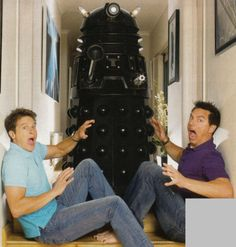 """John Barrowman has his own Dalek! """"Barrowman mentioned that on Halloween he sets it in his doorway so when little kids ring the doorbell their first view is the Dalek as it shouts """"EX-TER-MIN-ATE!!!"""" I love him even more now!"""