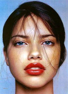 Red lips on Adriana Lima