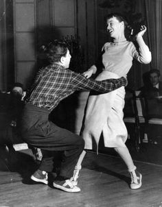 French university students dance the jitterbug, 1949. S)