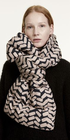 A black and sand colored Sahalaitaraita pattern adorns this quilted scarf with a polyester filling. Tie the scarf around the neck into a pretty oversized bow and make it your outfit's statement piece. Black Sand, Black And White, Marimekko, Love Clothing, Fall Accessories, Winter White, My Style, Pretty, Casual