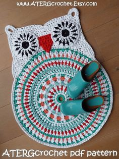 Crochet pattern owl rug by ATERGcrochet  XL by ATERGcrochet $5.77 USD