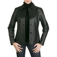 Arrow Women's Open Collar Leather Jacket in Black or Mahogany