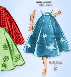 1950s Original Vintage Parade Mail Order Pattern 647 Misses Poodle Skirt 24-28 W #ParadeMailOrderPattern #CircleSkirtPattern