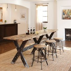 dining table decor and dining tableHandcrafted of reclaimed wood, this rugged and beautiful gathering table is highly functional with resounding style. Tables Étroites, Narrow Dining Tables, Bar Dining Table, Wood Tables, Dining Sets, Picnic Table, Coffee Tables, Narrow Bench, Porch Table