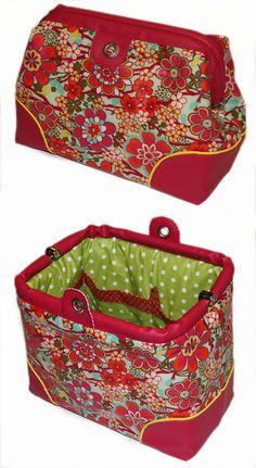 Carpet Bag als Toilettentasche mit Kunstlederboden und Paspeln- genäht von Andrea im Aalener Herbstworkshop 2016