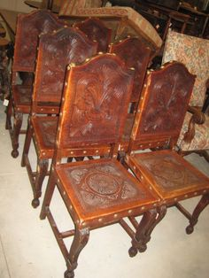 Elegant 2092091 Set Of Six Leather Spanish Dining Chairs For Sale | Antiques.com |  Classifieds