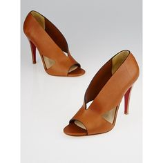Pre-owned Christian Louboutin Brown Leather Creve Coeur 100 Pump ($310) ❤ liked on Polyvore featuring shoes, pumps, christian louboutin pumps, cut out pumps, christian louboutin shoes, leather shoes and stiletto shoes