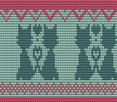patroon: 2 katjes met hartje heeft 64 steken