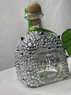 Alcohol Bottle Decorations, Alcohol Bottle Crafts, Mini Alcohol Bottles, Tequila Bottles, Patron Bottle Crafts, Bedazzled Liquor Bottles, Decorated Liquor Bottles, Bling Bottles, Diy Birthday Gifts For Friends