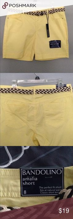 "Bandolino Amelia shorts S 8 New with Tags Bandolino Amalia shorts SZ 8 New with tags in Lemon whip color With flawless stretch 97% cotton 3% elastomer Waist measures aprox 33"" Inseam is aprox 6"" Comes with pretty beige and brown braided belt Bandolino Shorts"