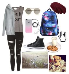 """My day"" by thaisa-tcs ❤ liked on Polyvore featuring Topshop, Object Collectors Item, Le Specs, Converse and Lauren Conrad"