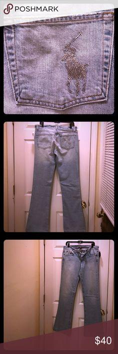 VINTAGE RALPH LAUREN RHINESTONE JEANS Beautiful Vintage Ralph Lauren jeans. Rhinestone Pony Size 30/34in. inseam Ralph Lauren Jeans Boot Cut