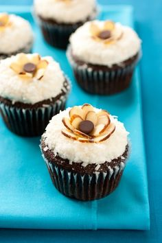 Chocolate Cupcakes with Coconut Frosting (Almond Joy Cupcakes)