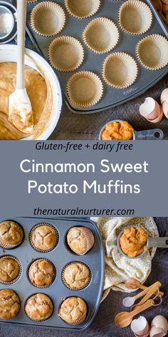 Paired with delicious peanut butter and made with just 8 real food ingredients, these muffins make the perfect addition to any breakfast or as a healthy snack. Veggie Muffins, Sweet Potato Muffins, Sweet Potato Breakfast, Gluten Free Muffins, Breakfast Muffins, Breakfast Recipes, Breakfast Kids, Diet Breakfast, Planning Budget