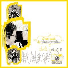 page scrap digital, 30*30, photographie, enfant, jaune.