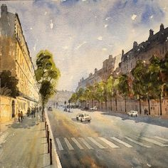 Boulevard Hausmann sketching with an audience of people queuing up for the Musée Jacquemart-André.  #Hausmann #Paris #Watercolour #Sketch