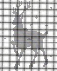 Knitting Charts, Knitting Stitches, Hand Knitting, Filet Crochet, Knit Crochet, Knit Patterns, Cross Stitch Patterns, Deer Pattern, Deer Art