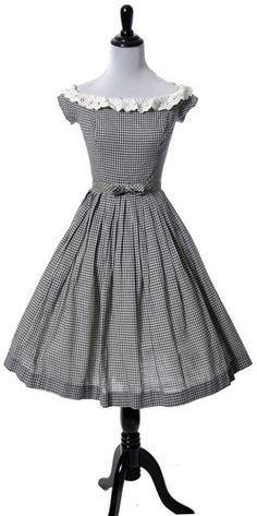 Vintage dress in Black and White Gingham eyelet lace