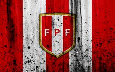 Download wallpapers Peru national football team, 4k, emblem, grunge, South America, football, stone texture, soccer, Peru, logo, South American national teams