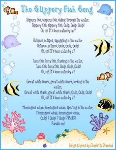 "Large group: Students will be able to sing and repeat ""the slippery fish"" song. They will develop fine motor coordination Kindergarten Songs, Preschool Music, Preschool Classroom, Preschool Activities, Beach Activities, Preschool Age, Preschool Circle Time Songs, Beach Theme Preschool, Preschool Assessment"