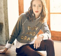 Bow & Drape Lookbook, DIY Custom Sweatshirts w/ sequin applique letters -  you can say anything you like!