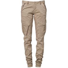 Cream LILY Cargo trousers ($125) ❤ liked on Polyvore