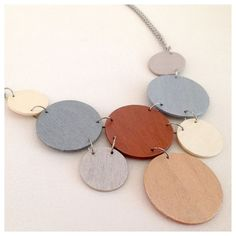 Modern geometric wooden necklace circular in by dibimi on Etsy, $32.00