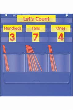 Counting Caddie And Place Value Pocket Chart, Grade K-3 -- (LOVE THE CLEAR POCKETS)  Two-color cards include 3 place-value cards, 30 number cards, and 1 title card. Also includes 200 plastic straws, plus a 2-page activity guide. Pocket chart features a storage pocket for cards and straws.