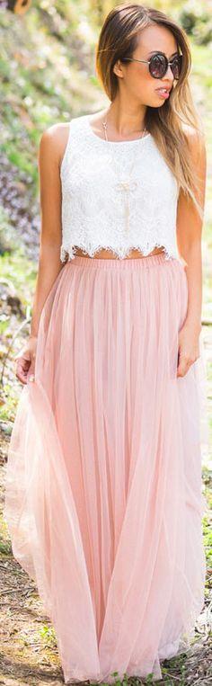 Maxi Skirt + Crop Top Outfit