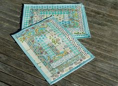 Quilted Placemats Ocean Colors Blues Pale Green by stgnantucket, $50.00