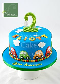 Cake for boys Cars - Gateau D'anniversaire Pour Enfants Garcon Cars… Boys First Birthday Cake, Baby Birthday Cakes, Fondant Cakes, Cupcake Cakes, Car Cakes For Boys, Cake For Boyfriend, Rodjendanske Torte, French Cake, Number Cakes