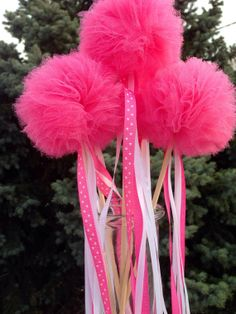 5 Tulle pom poms Wand ,Party Decoration,fairy wands,Princess Wands,Pom Pom Favors Centerpiece