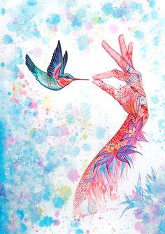 Tinta pájaro A3 / / naturaleza de tinta de impresión por TevaKiwi, $30.00