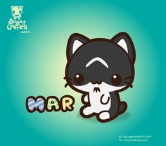 Mar(ilyn Manson) the Cat in kawaii style. Based on a real pet and commissioned by www.missmuffcake.com