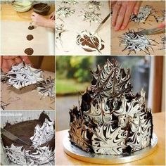 This Marble Chocolate Cake looks so cool ! It's INCREDIBLY easy to make ! You just need melt Chocolate and create to marble effect then stick them to your cake . :) Check recipe--> http://wonderfuldiy.com/wonderful-diy-cool-marble-chocolate-cake/# More #DIY projects: www.wonderfuldiy.com