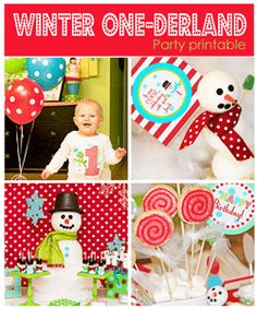 Snowman winter December boy birthday party first