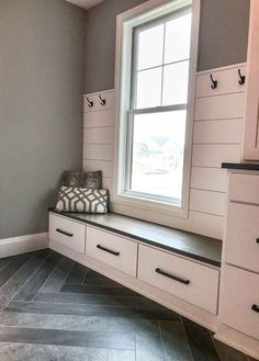 Trends From The Tour - herringbone, hexagons (and terracotta. incorporating current trends into this mudroom! Dark herringbone tile floors and white shiplap. Mudroom Storage Bench, Mudroom Laundry Room, Bench With Storage, Closet Storage, Storage Drawers, Mudroom Benches, Purse Storage, Entryway Storage, Wardrobe Storage
