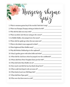 Set of 4 Floral Printable Baby Shower Games - Nursery Rhyme Quiz game for baby shower by LittleSizzle - Baby Shower Quiz, Fun Baby Shower Games, Virtual Baby Shower, Baby Games, Girl Shower, Baby Quiz, Baby Shower Games For Large Groups, Baby Shower Invitation Templates, Baby Shower Printables