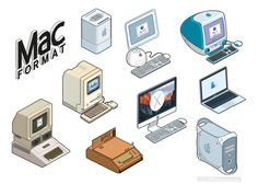 MacFormat Magazine commissioned Rod Hunt to illustrate a set of retro stickers of some of the iconic technology that Apple has produced over the years, from the Apple I and the first Macintosh, to the MacBook Pro and latest iMac.