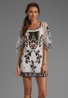 ANNA SUI Victorian Embroidery on Tulle Dress in Cream Multi
