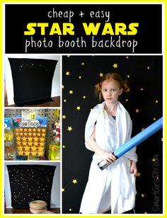 Cheap and easy DIY Star Wars photo booth backdrop by SmartGirlsDIY