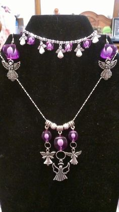 Beautiful purple angel set...available in any color...925P sterling silver chain...3 piece set $40 Christmas Jewelry, Crosses, Sterling Silver Chains, 3 Piece, Angels, Diamond, Purple, Color, Beautiful