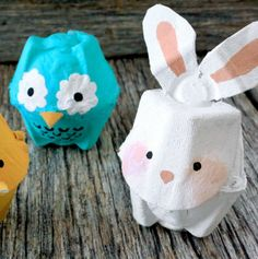 These adorable egg carton animals are too cute not to make! Scissors, glue and paint make it easy. - Everyday Dishes & DIY