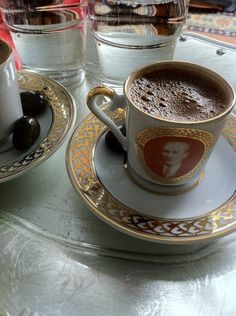 Turkish Coffee ( cup picture president ATATURK ) http://www.turkishstylegroundcoffee.com/turkish-coffee-recipe/ #turkishcoffee #turkishcoffeerecipe