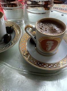 Turkish Coffee ( cup picture president ATATURK ) http://www.turkishstylegroundcoffee.com/turkish-coffee-recipe/ #turkishcoffee #turkishcoffeerecipe